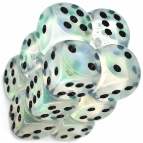 Clear & Black Borealis 16mm D6 Dice Block